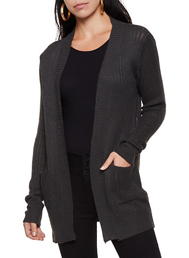 Knit Two Pocket Cardigan | 3022038341222,CHARCOAL,large