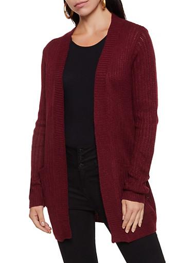Solid Knit Cardigan,BURGUNDY,large