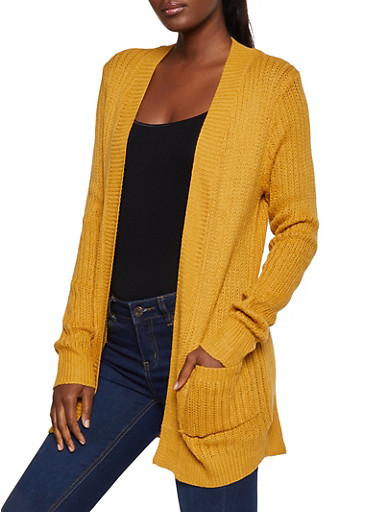 Knit Open Front Cardigan,MUSTARD,large