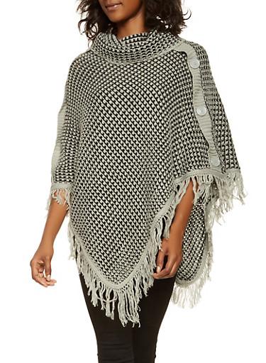 Knit Fringe Poncho,HEATHER,large