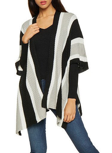 Striped Knit Kimono,BLACK/WHITE,large