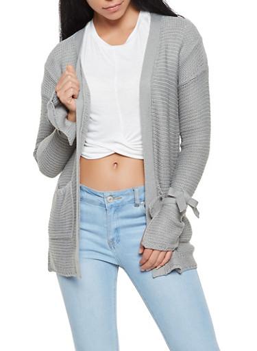 Knit Tie Sleeve Cardigan,HEATHER,large
