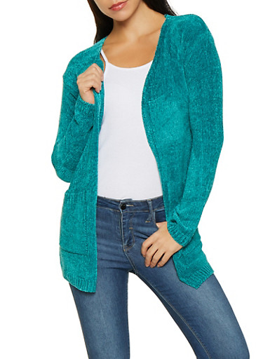 Open Front Chenille Cardigan,TEAL,large