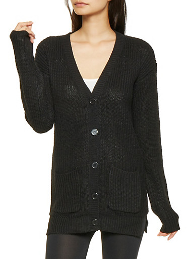 Knit Button Front Cardigan,BLACK,large