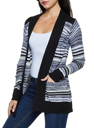Contrast Trim Striped Cardigan,BLACK/WHITE,large