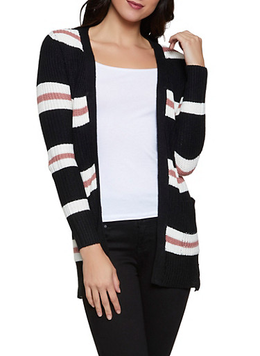 Striped Pointelle Cardigan,BLACK,large