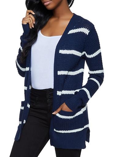 Two Pocket Striped Cardigan,NAVY,large