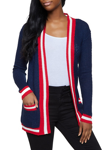 Striped Trim Cardigan,NAVY,large