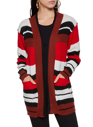 Two Pocket Multi Striped Knit Cardigan,RED,large