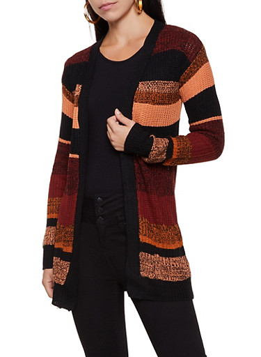 Two Pocket Striped Knit Cardigan,RUST,large