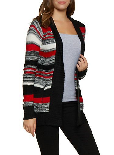 Marled Striped Knit Cardigan,BLACK,large