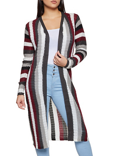 Knit Striped Duster,BLACK,large