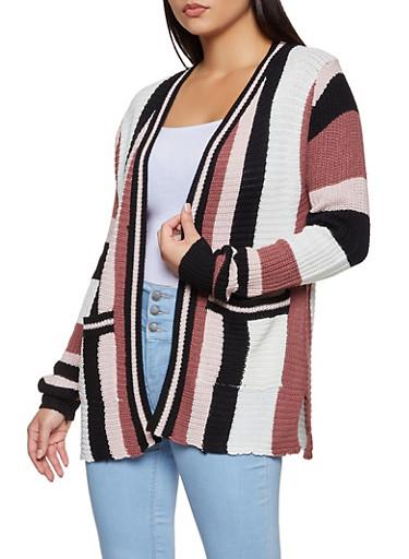 Striped Knit Cardigan,MAUVE,large