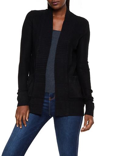 Open Front 2 Pocket Knit Cardigan,BLACK,large