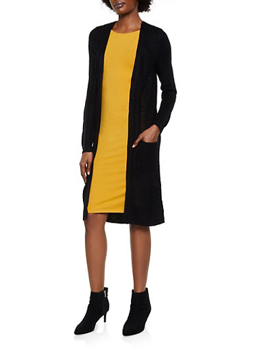 Long Sleeve Two Pocket Knit Duster,BLACK,large