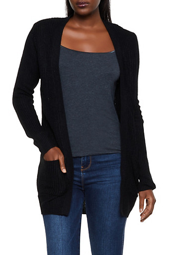 Knit 2 Pocket Cardigan,BLACK,large
