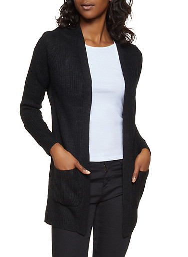 Knit Open Front Cardigan,BLACK,large