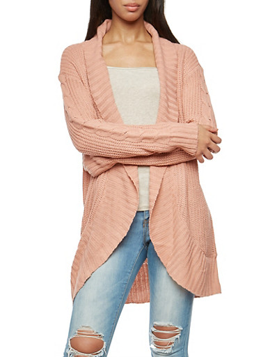 Shawl Collar Open Front Knit Cardigan,MAUVE,large