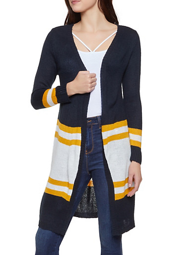 Color Block Long Cardigan,BLACK,large