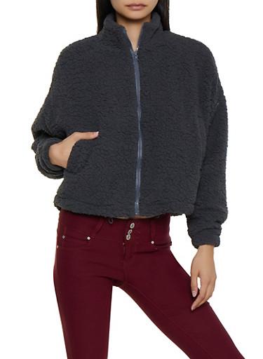 Zip Up Sherpa Sweatshirt,CHARCOAL,large
