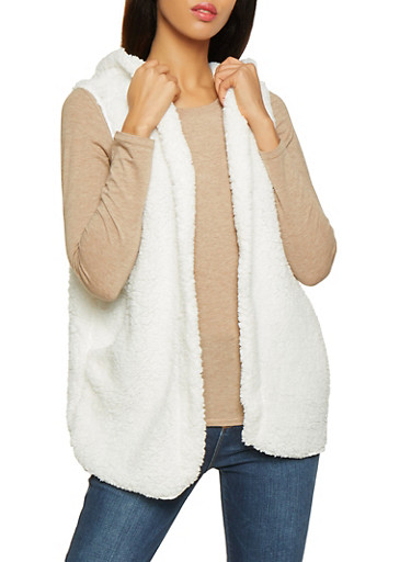 Hooded Sherpa Vest,IVORY,large