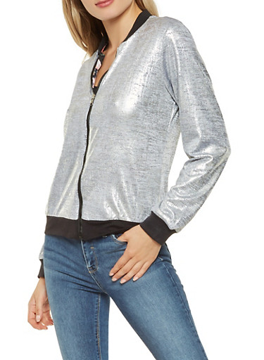Reversible Metallic Knit and Floral Bomber Jacket,SILVER,large