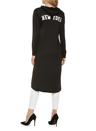 New York Graphic Hooded Duster,BLACK,large