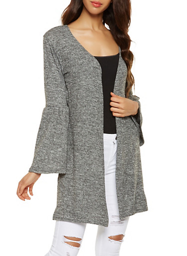 Open Front Bell Sleeve Duster,CHARCOAL,large