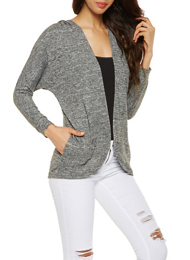 Hooded Cardigan,CHARCOAL,large