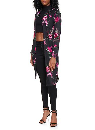 Hooded Floral Knit Duster,BLACK,large