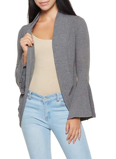 Lightweight Bell Sleeve Cardigan,CHARCOAL,large