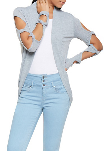 Cut Out Sleeve Cardigan,GRAY,large