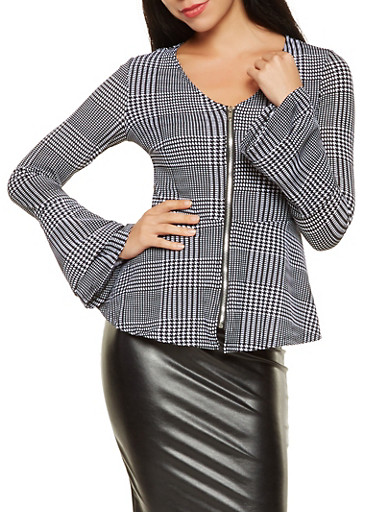 Houndstooth Pattern Zip Front Peplum Top,BLACK/WHITE,large
