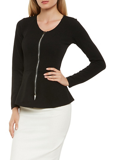 Zip Front Peplum Blazer,BLACK,large
