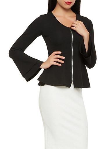 Textured Knit Peplum Jacket,BLACK,large