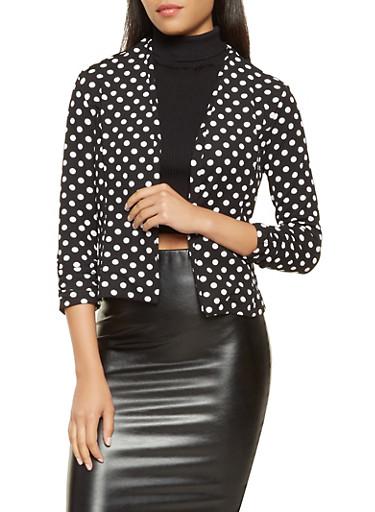 Printed Ruched Sleeve Blazer,BLACK/WHITE,large