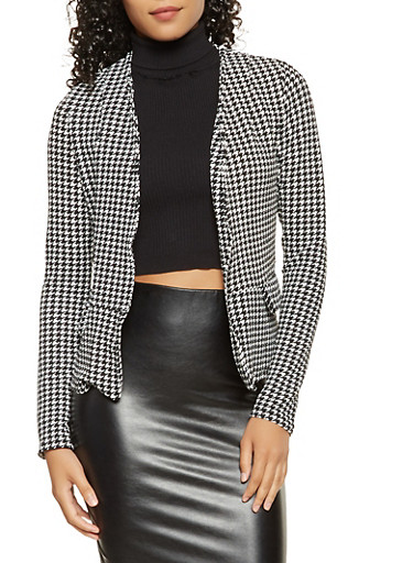 Textured Knit Blazer,BLACK/WHITE,large