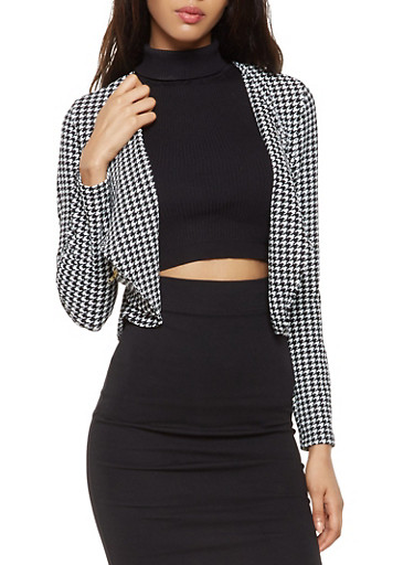 Printed Textured Knit Blazer,BLACK/WHITE,large