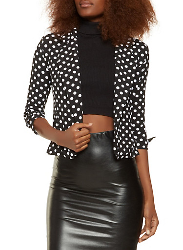 Printed Tie Sleeve Blazer,BLACK/WHITE,large