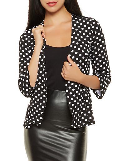 Polka Dot Open Front Blazer,BLACK/WHITE,large