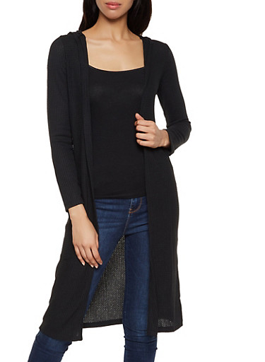 Hooded Thermal Duster,BLACK,large