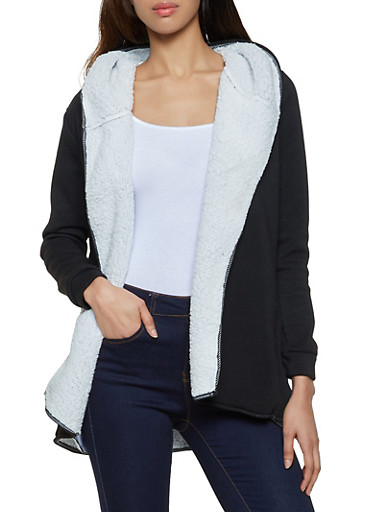 Hooded Sherpa Lined Cardigan,BLACK,large