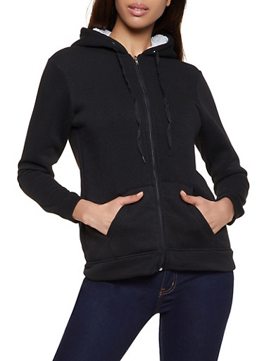 Hooded Sherpa Lined Sweatshirt,BLACK,large