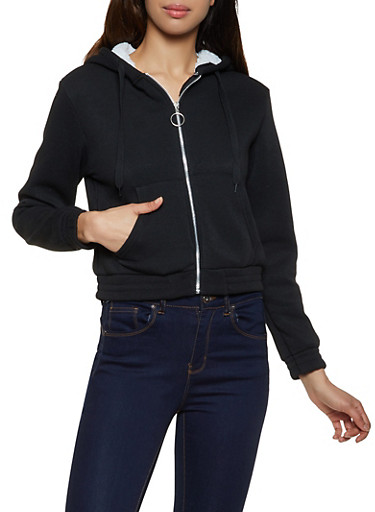 Sherpa Lined Zip Front Sweatshirt,BLACK,large
