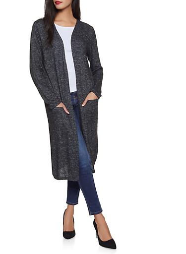 Long Sleeve Knit Duster,BLACK,large