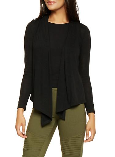 Knit Drape Front Cardigan,BLACK,large