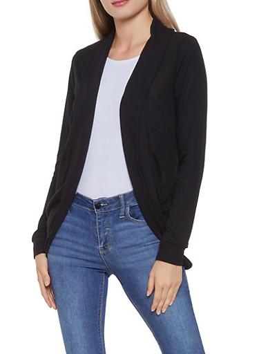 Open Front Cardigan,BLACK,large