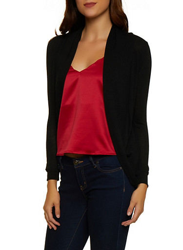 Solid Long Sleeve Cardigan,BLACK,large