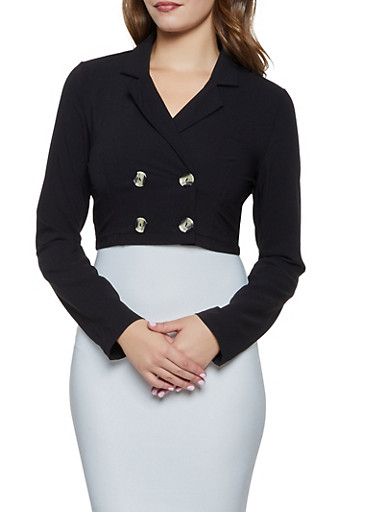 Double Breasted Cropped Crepe Blazer,BLACK,large