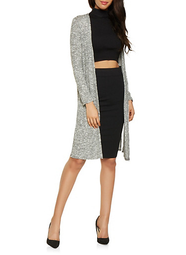 Two Tone Knit Duster,CHARCOAL,large